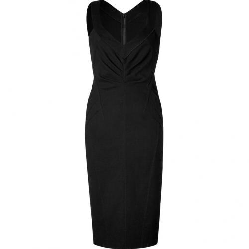Donna Karan Black Side Pleated Kleid