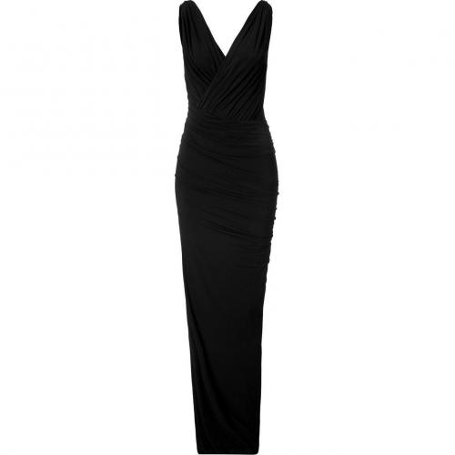 Donna Karan Black Twist Draped Maxi Kleid