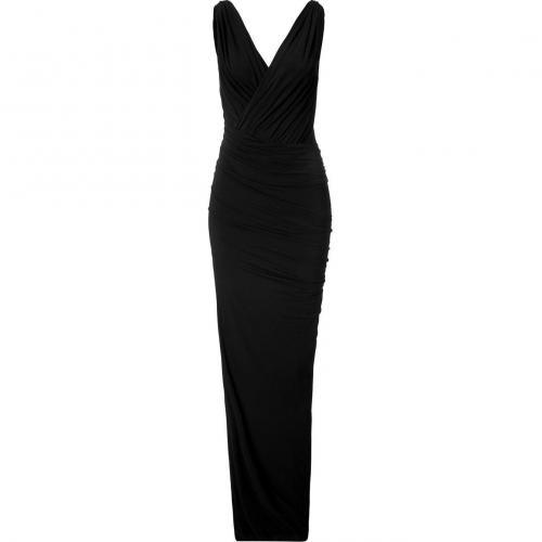 Donna Karan Black Twist Draped Maxi Kleid