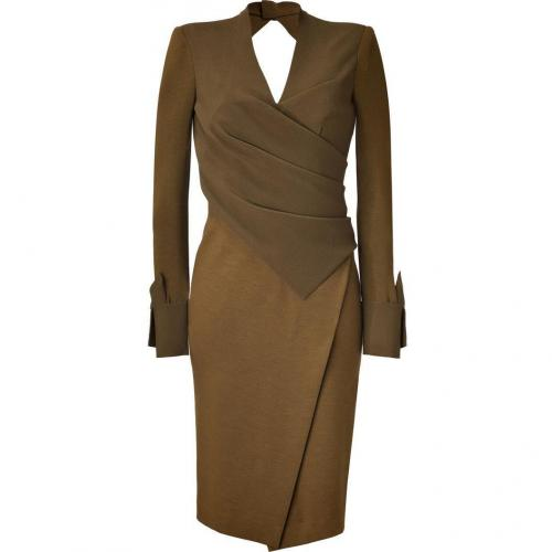 Donna Karan Brass Crepe Sculpted Bodice Angular Slit Kleid