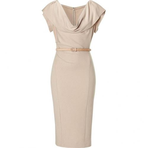 Donna Karan Camel Cap Sleeve Draped Kleid with Belt