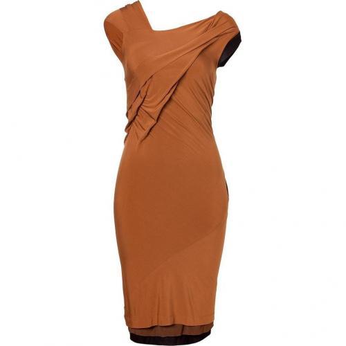 Donna Karan Copper Asymmetric Detailed Draped Kleid