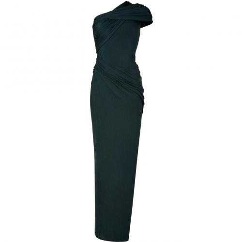 Donna Karan Petrol One Shoulder Draped Jersey Gown