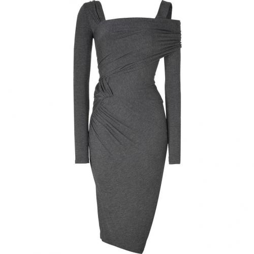 Donna Karan Pewter Heather Jersey Asymmetric Cold-Shoulder Kleid