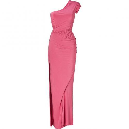 Donna Karan Rose Quarz One Shoulder Draped Jersey Gown