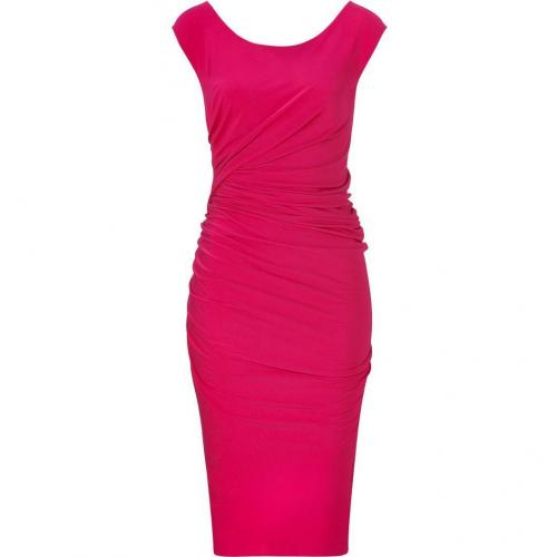Donna Karan Shocking Pink Cap Sleeve Draped Jersey Kleid