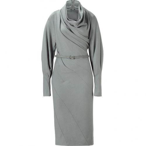 Donna Karan Sky Grey Belted Cowl Twist Kleid