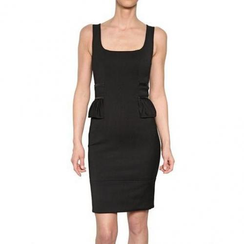 Dsquared Leder Peplum Stretch Cady Kleid