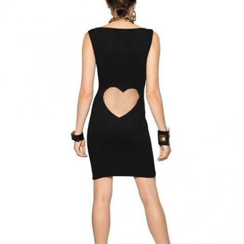 Dsquared Viskosen Jersey Kleid Mit Netz Herz Noir
