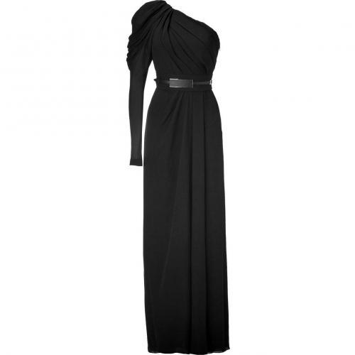 Elie Saab Black One-Sleeve Belted Silk Georgette Gown