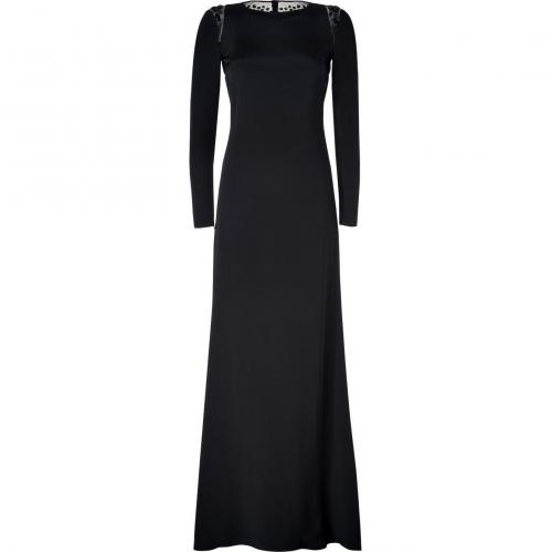 Emilio Pucci Black Silk Embellished Back Evening Gown