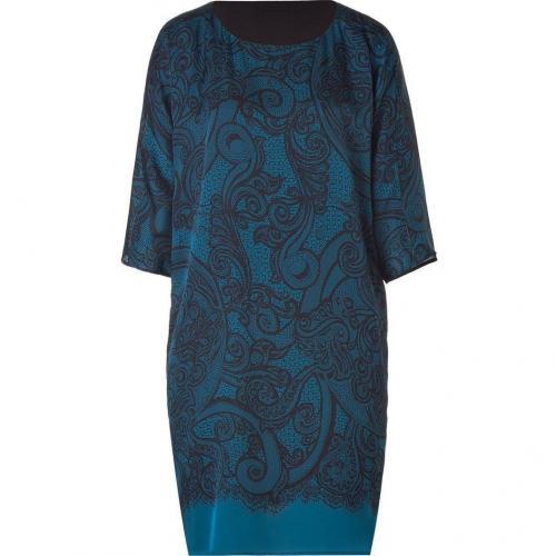 Emilio Pucci Petrol Lace Print Silk Dress