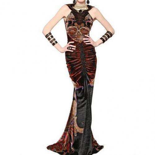 Etro Bedrucktes Viskose Seiden Samt Kleid