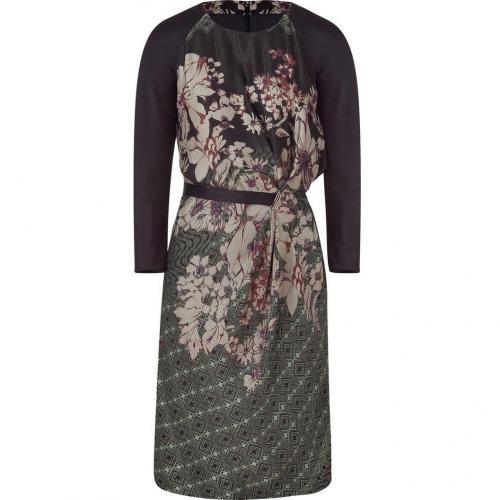 Etro Black Belted Raglan Sleeve Kleid