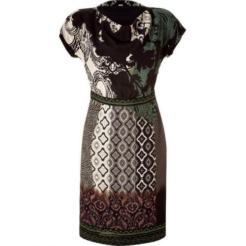 Etro Black/Green Cowl Neck Kleid
