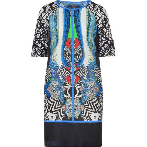 Etro Caviar/Blue-Multi Printed Silk Shift Kleid