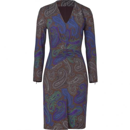 Etro Espresso/Violet Multicolor Paisley Silk Stretch Kleid