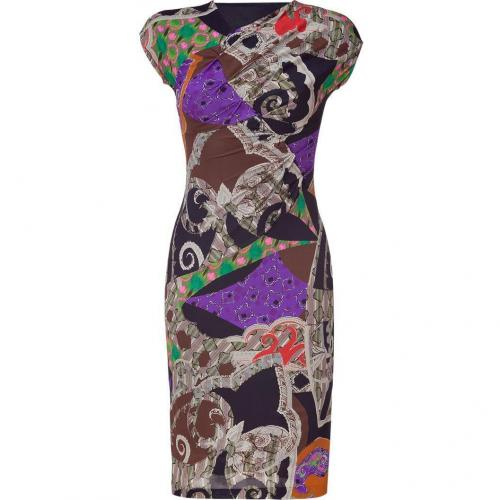 Etro Multicolor Mixed Print Jersey Kleid