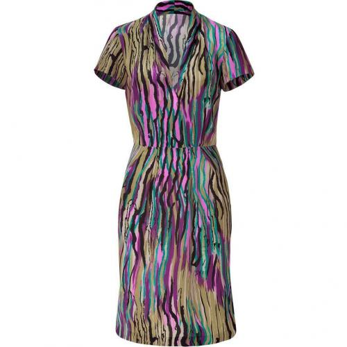 Etro Reed/Magenta Multi Patterned Silk Kleid