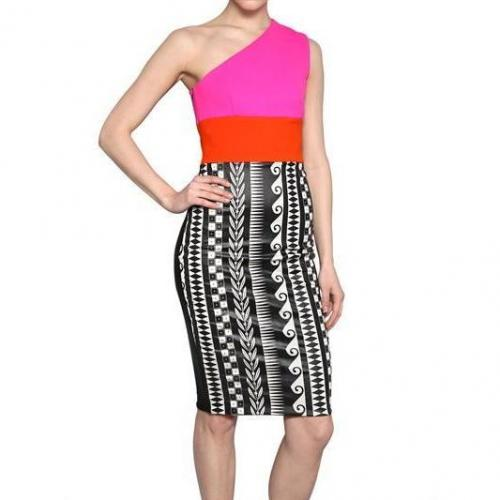 Fausto Puglisi Bedrucktes Spandex Jersey Woll Kleid