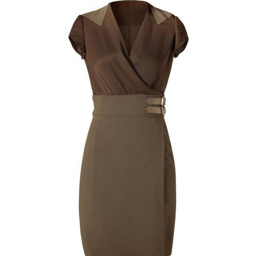 Givenchy Olive Combo Kleid with Leather Trim