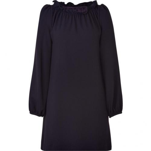Goat Iris Gathered Neck Wool Crepe Dress
