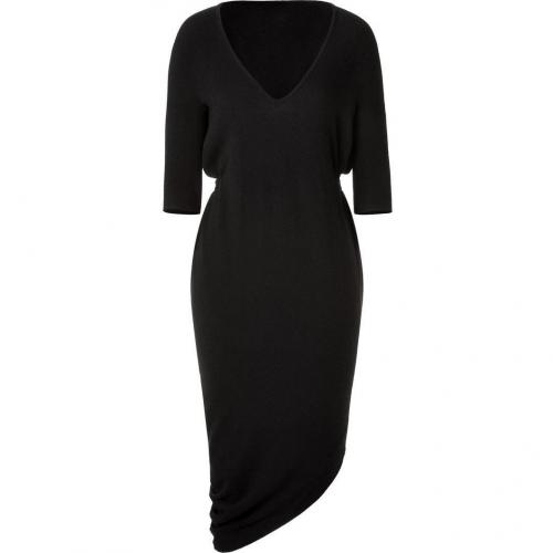 Halston Black Belted Asymmetric Cashmere Kleid