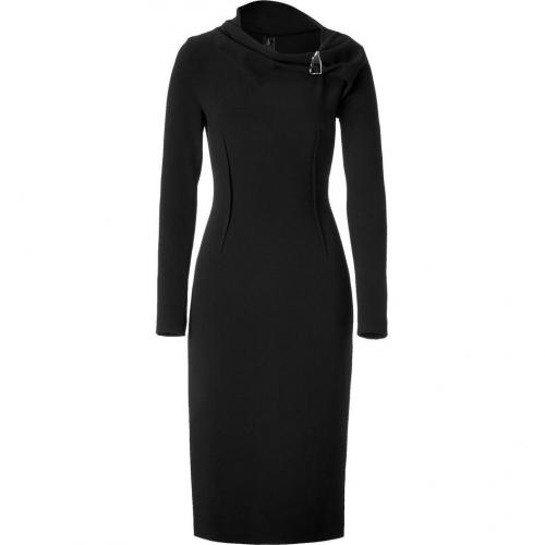 Halston Black Wool Sheath Kleid with Brooch Neck