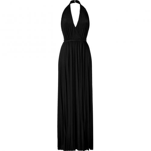 Halston Heritage Black Beaded Backless Kleid