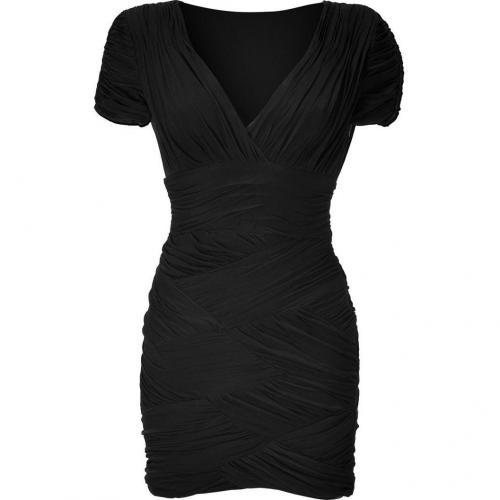 Halston Heritage Black Draped V-Neck Kleid