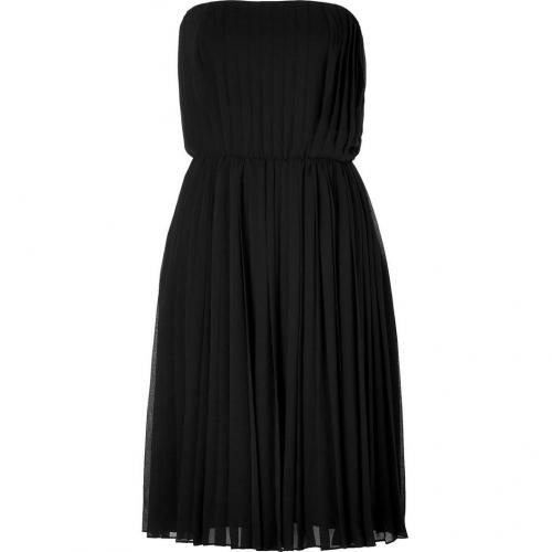 Halston Heritage Black Strapless Pleated Kleid