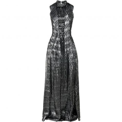 Halston Heritage Kleid Schwarz-Silber