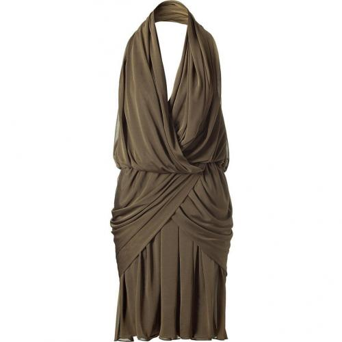 Halston Olive Hooded Draped Kleid