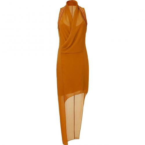 Helmut Lang Cognac Asymmetric Helix Dress