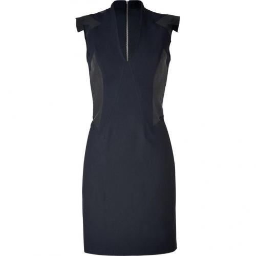 Helmut Lang Tonal Black Deconstructed Leather Trimmed Dress