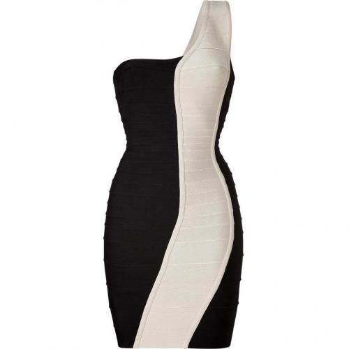 Hervé Léger Black/Cream One Shoulder Bandage Dress