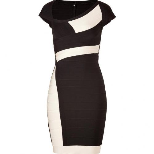 Hervé Léger Black/Ivory Cap Sleeve Bandage Dress