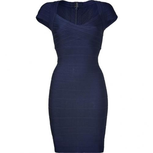 Hervé Léger Blue Cap Sleeve Bandage Dress