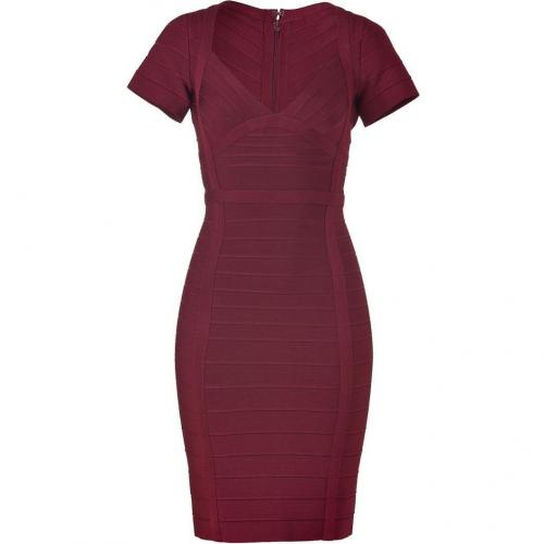 Hervé Léger Bordeaux Short Sleeve Bandage Dress