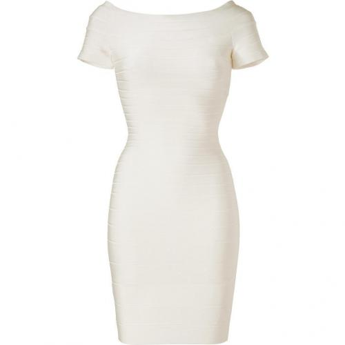 Hervé Léger Ivory Off-the-Shoulder Bandage Dress