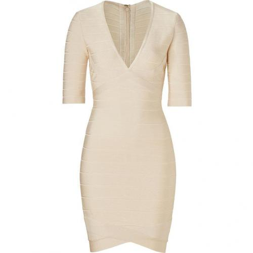 Hervé Léger Ivory V-Neck Bandage Dress