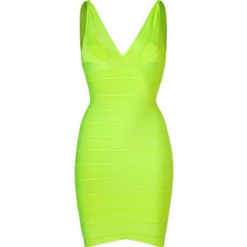 Hervé Léger Neon Green Bandage Dress