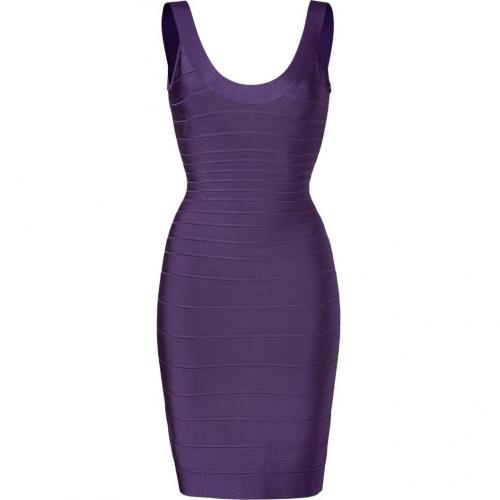 Hervé Léger Purple Plum Scoop Neck Bandage Dress