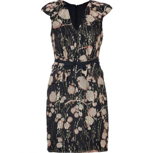 Hoss Intropia Black-Multi Belted Silk-Blend Dress