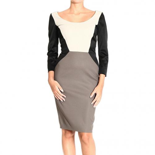 Iceberg Long sleeve madonna neck bicolor satin dress
