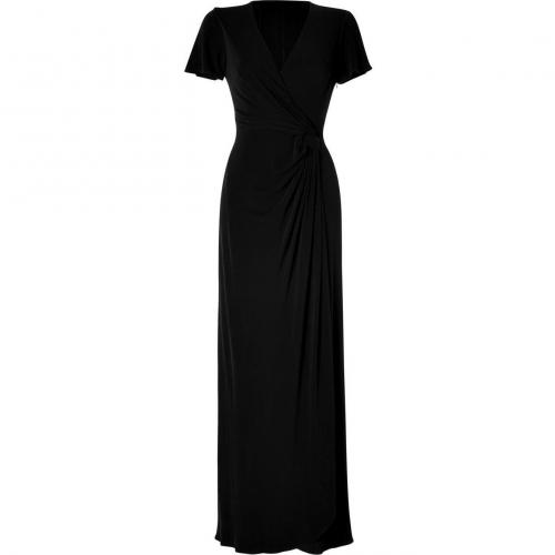 Issa Black Side Draped Gown Crepe Silk Jersey Dress