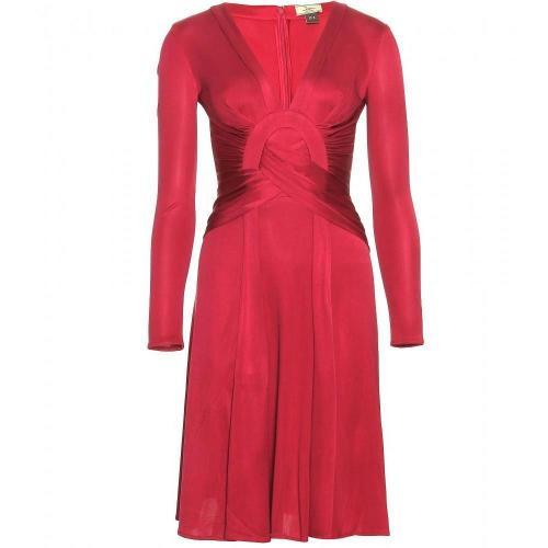 Issa Drapiertes glänzendes Seidenkleid Rot