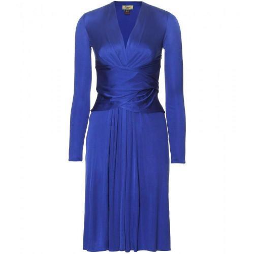 Issa Drapiertes Seidenjersey-Kleid Blau