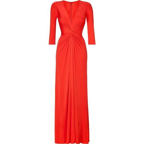 Issa Fire Red Silk Jersey Maxi Dress