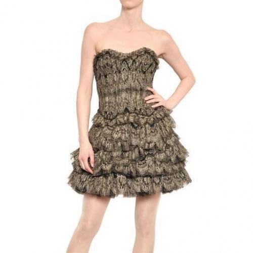 Jay Ahr Laminiertes Rüschen Seiden Tüll Kleid